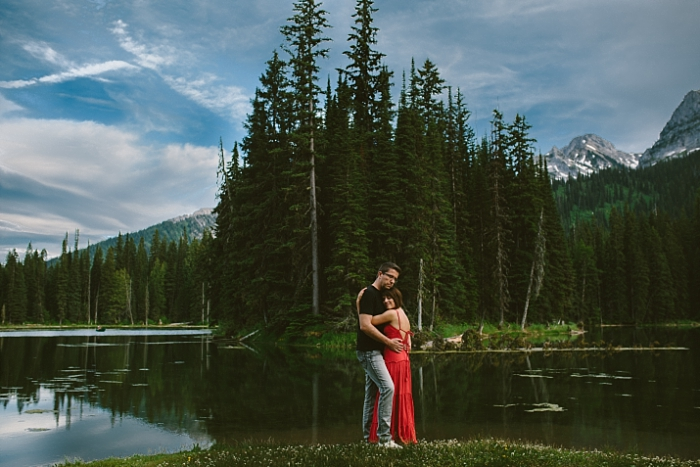Couple, love, photography engagement session at Island Lake Lodge, BC in the Canadian Rockies